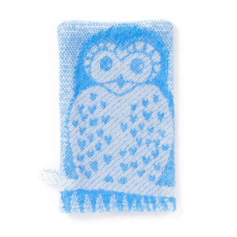 Wash Mitt: Prairie Collection Owls -Cool Blue