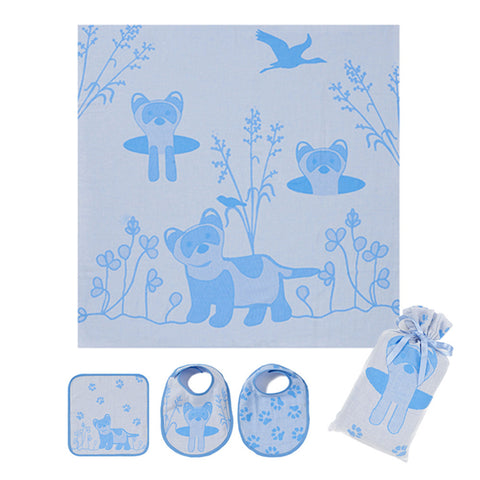 Muslin Swaddle Set: Prairie Collection, Blue Ferret