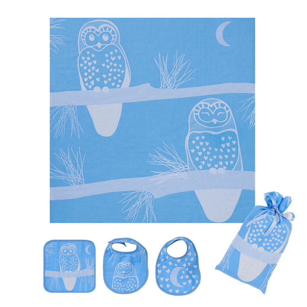 Muslin Swaddle Set, The Prairie Collection Blue Owl - Breganwood Organics - 1