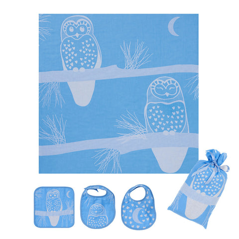 Muslin Swaddle Set: Prairie Collection, Blue Owl