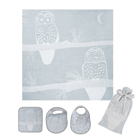 Muslin Swaddle Set: Prairie Collection, Grey Owl