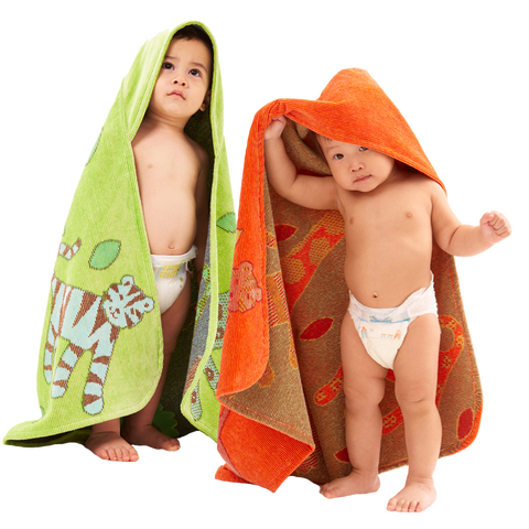 Baby Towel: Jungle Collection Green & Orange Breganwood Organics -1