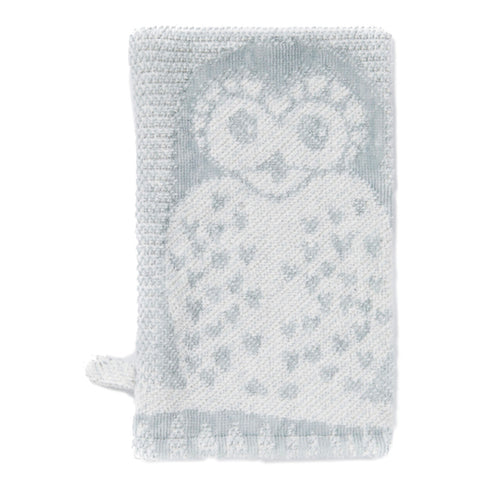 Wash Mitt: Prairie Collection Owls -Soft Grey