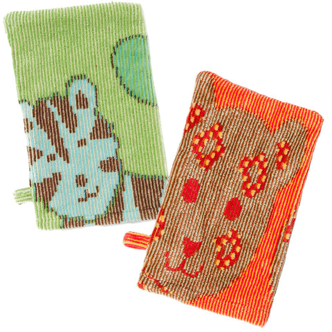 Bath Mitts: Jungle Collection (Green & Orange) - Breganwood Organics - 6
