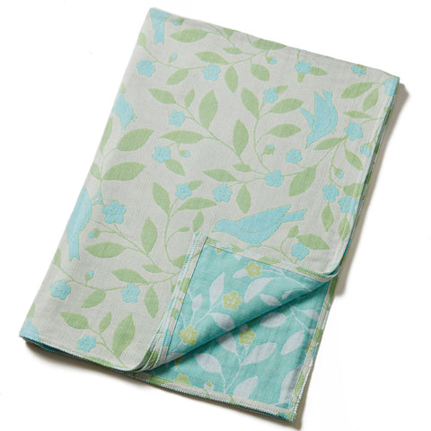 Cotton Throw by Barbara Leonard, Blue Floral - Breganwood Organics - 1