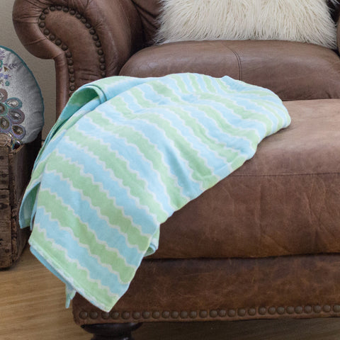 Cotton Throw/Blankets made with organically grown cotton blue wave design 3
