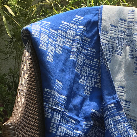 Cotton Throw/Blanket, Shoreline Design in Blue & Grey