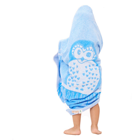Baby & Toddler Hooded Towel: Prairie Collection (Blue Owl) - Breganwood Organics - 1