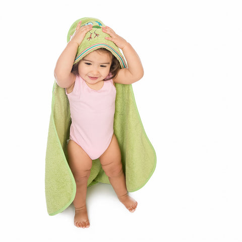 Baby & Toddler Hooded Towel: Rainforest Collection (Silly Frog) - Breganwood Organics - 7