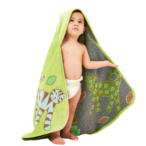 Baby & Toddler Hooded Towel: Jungle Collection (Green) - Breganwood Organics - 3