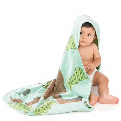 Baby & Toddler Hooded Towel: Outback Collection Kangaroos -Sea Blue