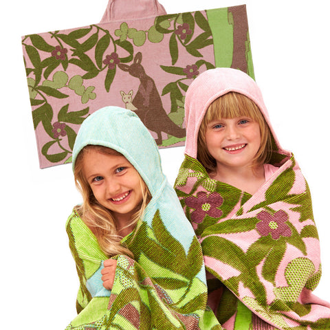 Kids Hooded Towel: Outback Collection Kangaroos -Pale Rose