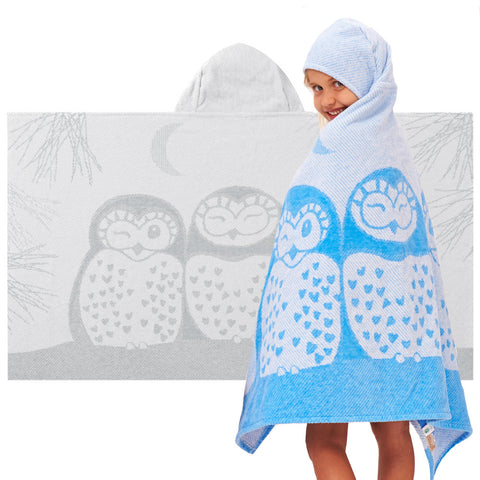 Kids Hooded Towel, The Prairie Collection Owls - Breganwood Organics - 1