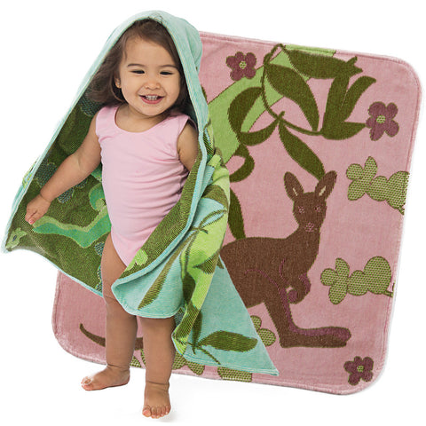 Baby & Toddler Hooded Towel: Outback Collection Kangaroos -Pale Rose