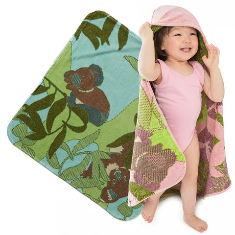 Baby & Toddler Hooded Towel: Outback Collection Koalas - Breganwood Organics - 1