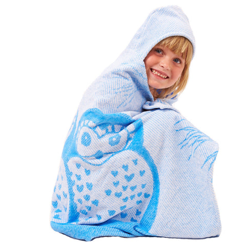 Kids Hooded Towel, The Prairie Collection Blue Owl - Breganwood Organics - 3