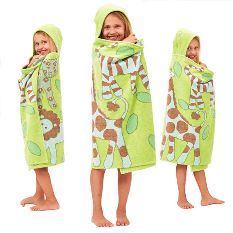 Kids Hooded Towel: Jungle Collection Classic -Green