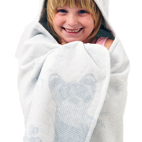 Kids Hooded Towel: Prairie Collection Ferrets -Soft Grey