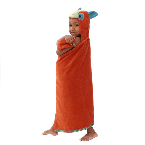 Kids Hooded Towel: Rainforest Collection -Happy Lemur