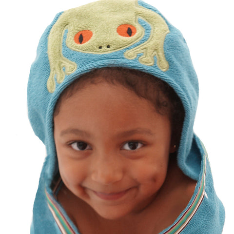 Kids Hooded Towel: Rainforest Collection -Silly Frog
