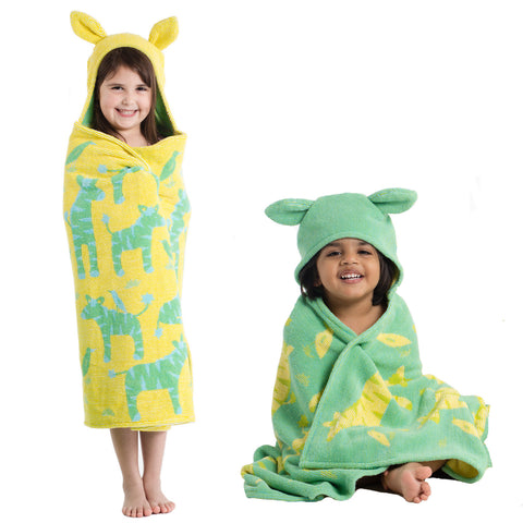 Kids Hooded Towels, Jungle Zebras - Breganwood Organics -1