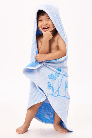 Baby & Toddler Hooded Towel, Blue Ferret Jacquard Design by Harmony Art 2