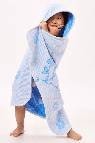 Baby & Toddler Hooded Towel, Blue Ferret Jacquard Design by Harmony Art 4