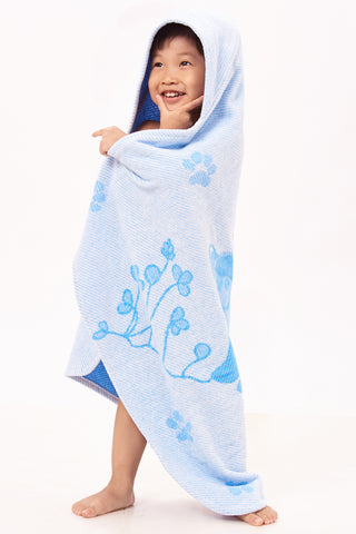 Baby & Toddler Hooded Towel, Blue Ferret Jacquard Design by Harmony Art 5