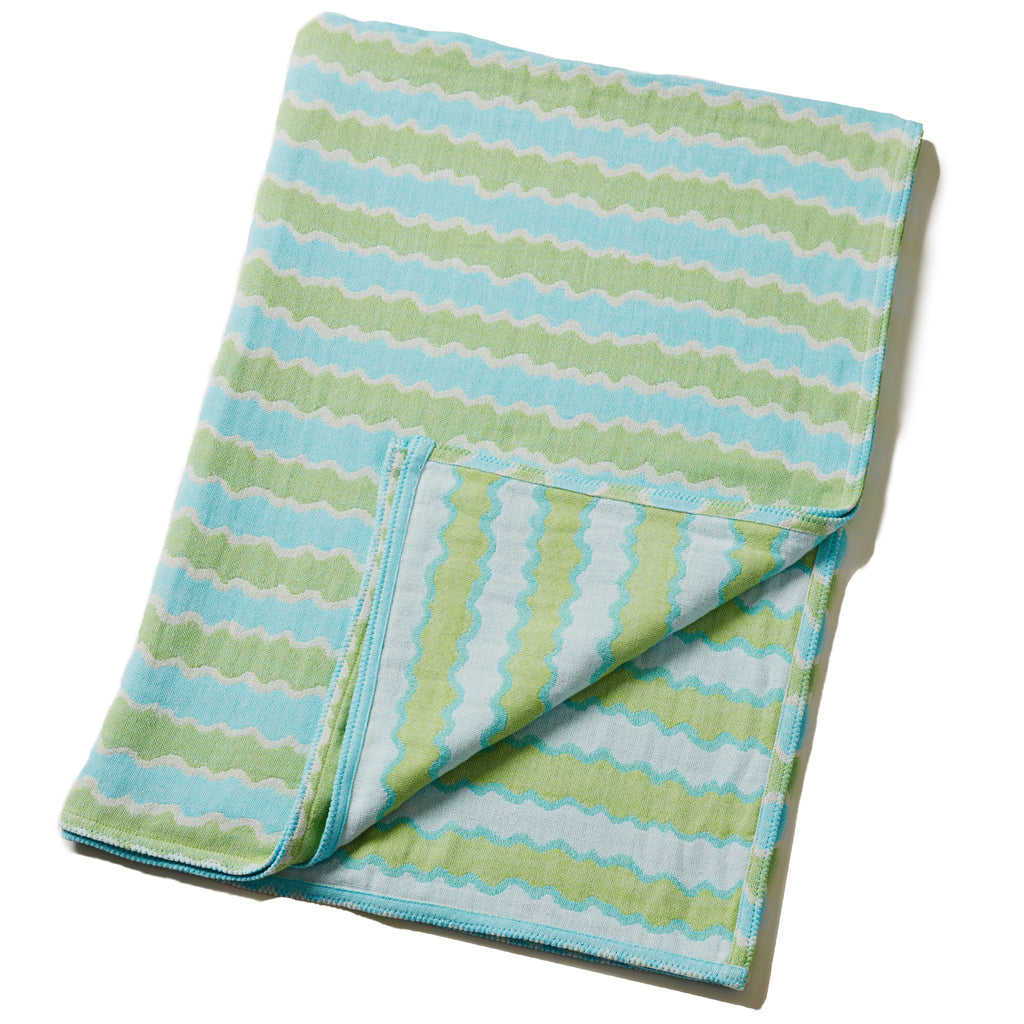 Cotton Throw/Blankets made with organically grown cotton blue wave design 1