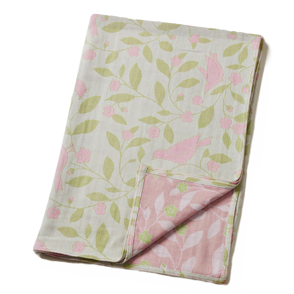 Cotton Throw/Blanket: Floral Design, Pink