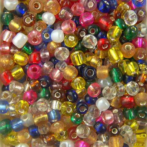 Round Silver-Lined Rocailles Seed Beads, Glass, Size  6/0 (Choose Color) (Approx. 1 LB)