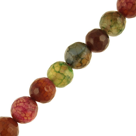 "10mm Faceted Multi-Autumn Mosaic Agate (16"" Strand)"