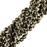 "10mm Round Faceted Black & White Agate-Soccer (16"" Strand)"