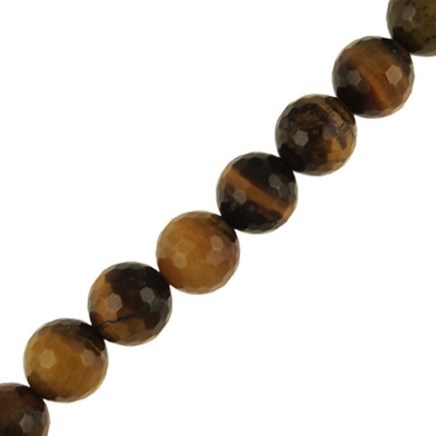 "10mm Round Faceted Tiger Eye (16"" Strand)"