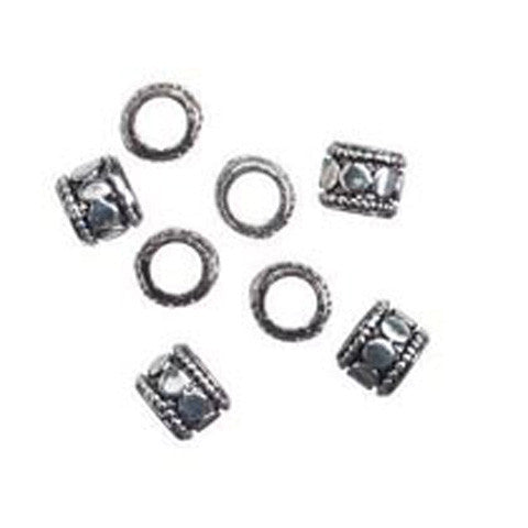 6mm Tube Antique Silver Metal Spacer Bead (16pcs)