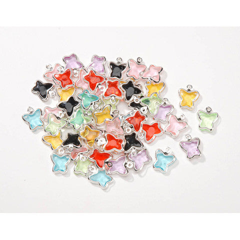 Acrylic Butterfly Charms Assorted Colors - 9.5mm x 12mm (50 PCS)