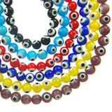 "8mm Round Evil Eye Beads-Dk. Blue (15"" Strand)"