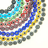 "8mm Flat Evil Eye Beads-Black (15"" Strand)"