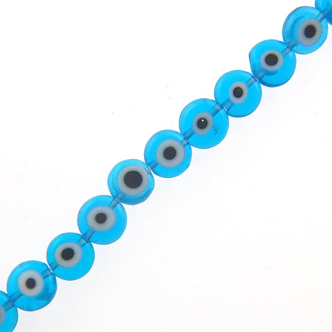 "8mm Flat Evil Eye Beads-Lt. Blue (15"" Strand)"