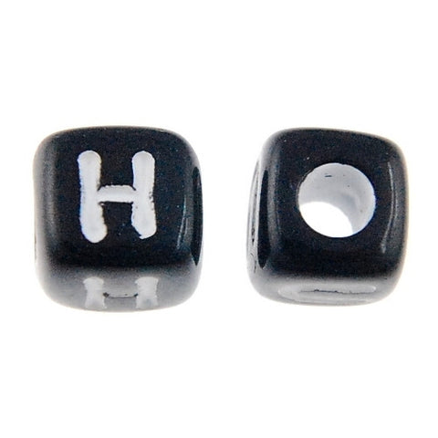7mm Assorted Cube Alphabet Beads (Black) (500 Pieces)