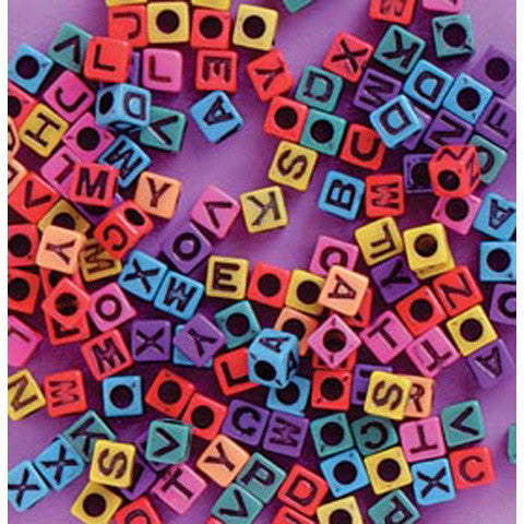 Alphabet Beads, Assorted Letters, 6mm Cube, Mixed Colors w/ Black Letters (160 Pieces)