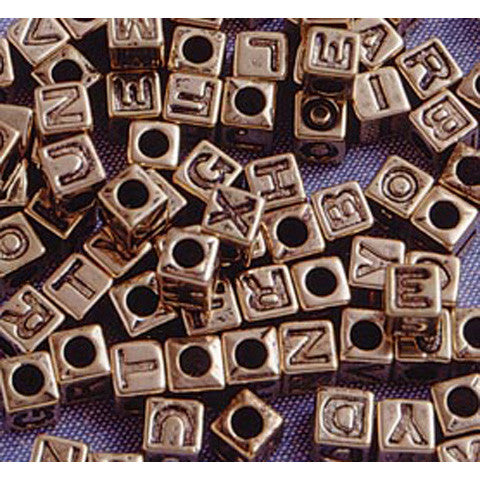 Alphabet Beads, Assorted Letters, 6mm Cube, Gold w/ Black Letters (85 Pieces)