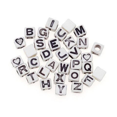 Alphabet Beads, Assorted Letters, 6mm Cube, White w/ Black Letters (160 Pieces)