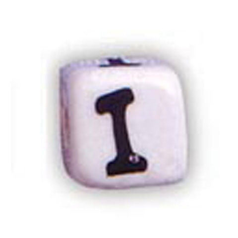 Ceramic Alphabet Beads, 12mm Cube (I) (4 Pieces)