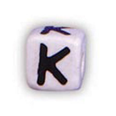 Ceramic Alphabet Beads, 12mm Cube (K) (4 Pieces)