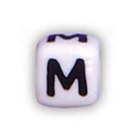 Ceramic Alphabet Beads, 12mm Cube (M) (4 Pieces)