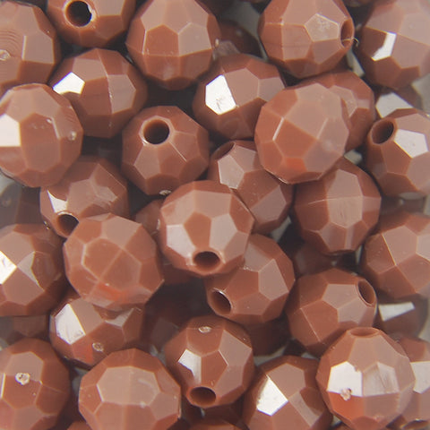 Brown - Faceted Opaque Plastic Beads (12mm)