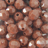 Brown - Faceted Opaque Plastic Beads (6mm)