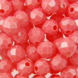 Coral - Faceted Opaque Plastic Beads (8mm)