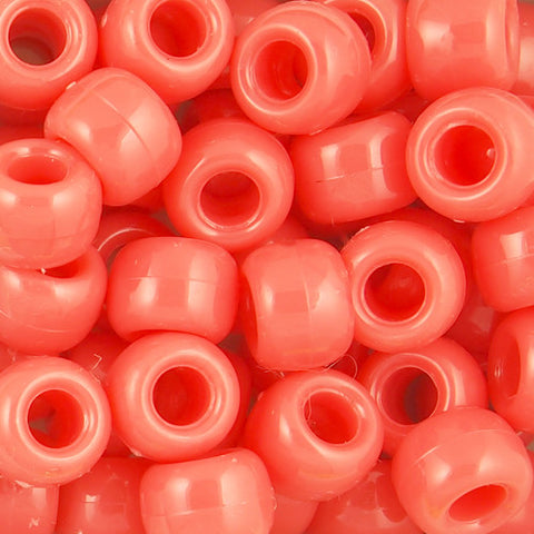 Pony Beads, 9x6mm, Opaque Coral (650 Pieces)
